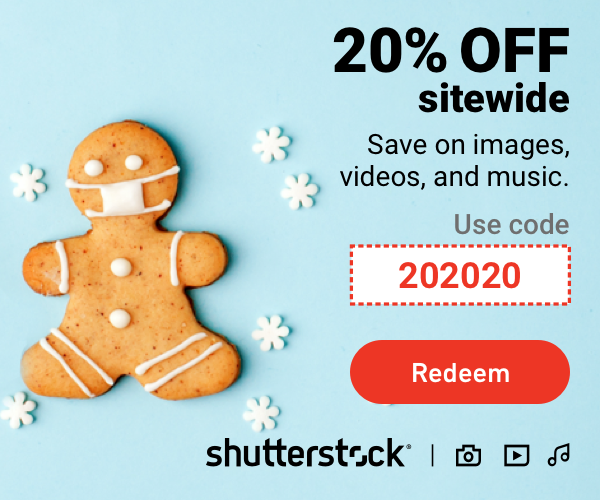 20% off Shutterstock side wide. Code 202020